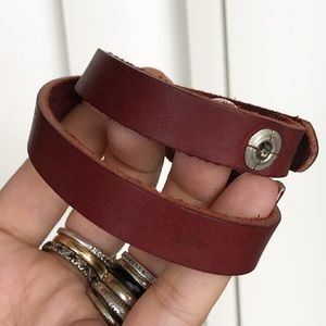 Rocker Burgandy brow leather wrap around bracelet